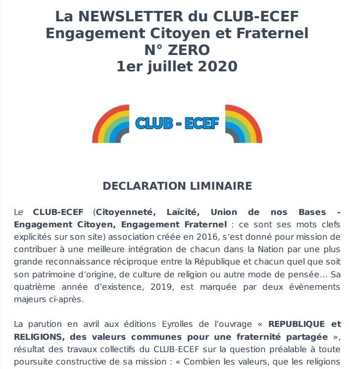 ECEF - Newsletter N°0