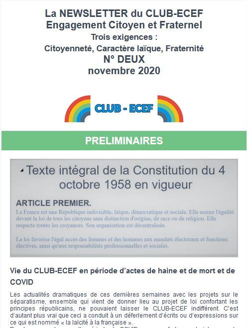 Newsletter du CLUB-ECEF – Numéro DEUX