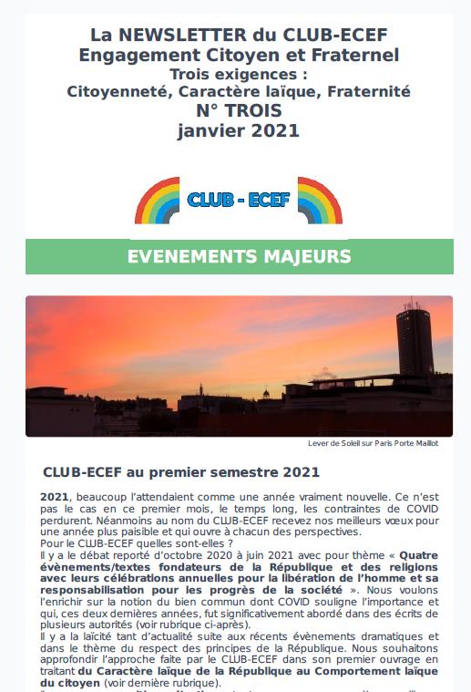 Newsletter du CLUB-ECEF – Numéro TROIS